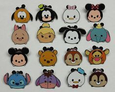 Complete Disney 2015 Set 16 TSUM TSUM Characters Mystery Trading Pins