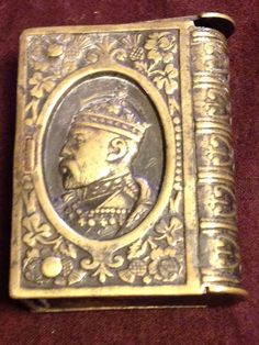 Antique Brass King Edward VII Long Live The King Match Safe Vesta