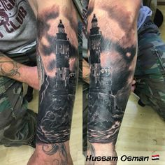 Cover up lighthouse half sleeve tattoo tattooist art