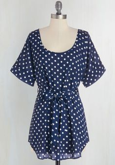 Medium Format Memory Tunic in Navy Dots. Zoom in on that group shot to admire yourself in this navy-blue tunic! #blue #modcloth