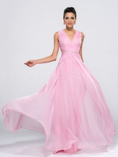 ab36687543d Elegant Concise Double V-Neck A-Line Floor Length Zipper-Up Prom Dress