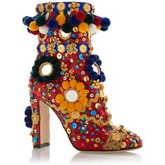 Dolce & Gabbana Multicolored Pom Pom Boot ($5,995) ❤ liked on Polyvore featuring shoes, boots, heels, summer boots, red leather boots, red heel shoes, red shoes and heeled boots