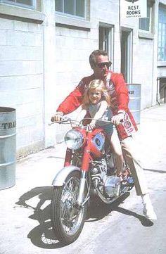 Paul Newman on a Honda Motorcycle