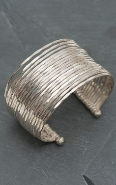 Hammered Silver Bangle Cuff Bracelet
