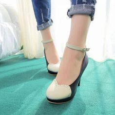 Fashion Round Toe Closed Stiletto High Heel Ankle Strap Black PU Pumps [salepro_769] - $20.49 : Hcforever.com