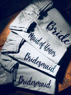 Bridal Party Personalized SweatsLadies lounge pants bridal party gift ideas Bridal party sweats Bride maid of honorbridesmaidssweats by OffthehookboutiqueCo on Etsy Cute Wedding Ideas, Wedding Goals, Gifts For Wedding Party, Bridal Gifts, Wedding Wishes, Perfect Wedding, Wedding Planning, Dream Wedding, Bridal Parties