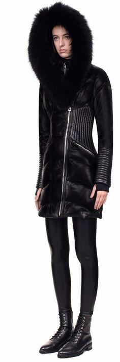 Women's Down Coats SIA Black Detail View   RUDSAK