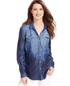 Calvin Klein Jeans Ombré Button-Front Shirt - Women - Macy's