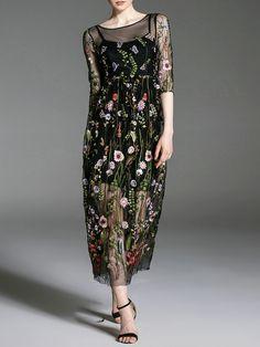 #AdoreWe #StyleWe Dresses - JIANSHAN Black Half Sleeve Embroidered Floral A-line Midi Dress - AdoreWe.net