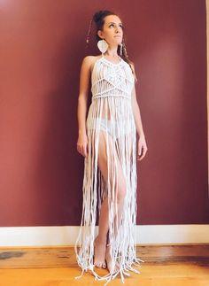 Orion macrame dress | Etsy Tee Shirt Fila, Tshirt Garn, Macrame Dress, Bikini Dress, Recycled T Shirts, Macrame Patterns, Macrame Jewelry, Simple Outfits, Ladies Day
