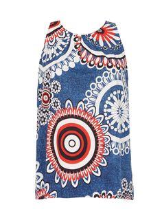Womens *Izabel London Multi Blue Print Sleeveless Top- Blue