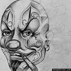 Wicked Joker Clown Chicano Arte and Graphics Chicano Style Tattoo, Chicano Tattoos, Tattoo Design Drawings, Art Drawings, Le Clown, Joker Clown, Chicano Drawings, Cholo Art, Clown Tattoo