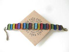 Multicolored Bracelet Textile Macramé Colourful Jewelry Handwoven Bangle Rainbow Colors Funky