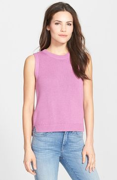 Halogen® Sleeveless Cotton Sweater available at #Nordstrom