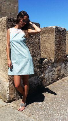 Vestido azul claro http://probandoropa.com/es/vestidos/vestido-azul-claro