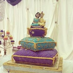 A fun Aladdin & Jasmine themed wedding cake from yesterday! by bluecakecompany, via Flickr