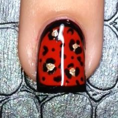 """Tutorial for today's matte leopard mani. I used a brush from @stylishnailartshop for the outline and a dotting tool and toothpick for the animal print The red polish is called """"Red Bottoms"""" by @colourgossipnails topped with """"Matty  Cakes"""" Matte Topcoat, also by @colourgossipnails they're offering my followers 40% off with the code """"badgirlnails"""" Song: Lana Del Rey- Off To the Races"""