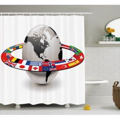 french country bathrooms for the elderly Country Bathrooms, National Flag, Bathroom Sets, Curtains, French Country, Chair, Flags, Countries, Hooks