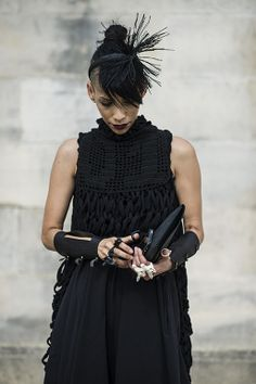Lily Gatins. Black. Dress. Arm Bands. Design. Fashion. Style. Street.