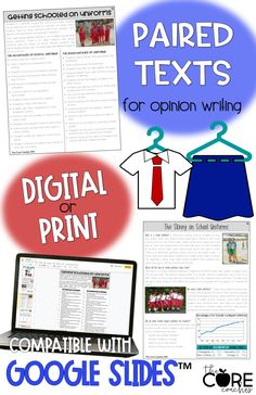 Compatible with Google Slides, these print or digital differentiated paired text passages about wearing school uniforms are perfect to teach opinion writing.