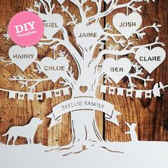 This listing is for a papercutting template with your chosen names and silhouettes. Ready to print and cut yourself for that extra special Christmas, Birthday or anniversary gift. Once payment is received your design will be made and emailed to you within 48 hours. You will need: