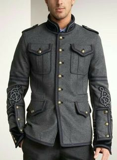 Season Jackets - I dig but Im not all the way there. 2009 UPDATE: Marching Band Military Jackets for Men Mens Military Style Jacket, Military Jackets, Military Suit, Mens Fashion Blog, Moda Fashion, Men's Fashion, Striped Jeans, Military Fashion, Stylish Men