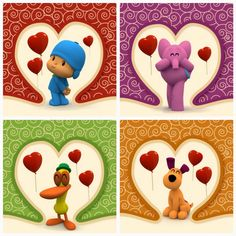 These printable Valentine´s cards feature Pocoyo and his friends Elly, Pato, Loula , and Sleepy Bird for a total of five different cards.