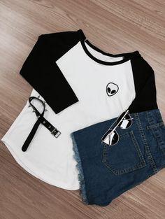 SHARE & Get it FREE | Raglan Sleeve Skull Print Color Block T-ShirtFor…