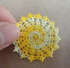 Miniature crochet doily in yellow 1:12 dollhouse miniature  by MiniGio