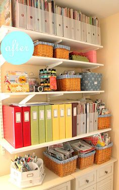 need to organize scrapbooking stuff like this! -need some new shelving for spare room   (display books on shelf, use baskets to store things...)