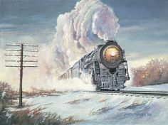Kicking up Snow train painting by John J Nauer- Zug Illustration, Railroad History, Rail Transport, Best Background Images, Railroad Photography, Train Art, Railway Posters, Night Train, Old Trains