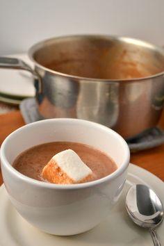Pumpkin Hot Chocolate (almond milk, pumpkin puree, pie spice, cocoa, maple syrup, salt, vanilla)..