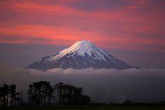Fiery Sunset over Mount Taranaki NZ