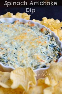 Hot Spinach Artichoke Dip | willcookforsmiles.com #dip #spinach #appetizer