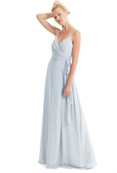 29bd628a106 Chiffon wrap dress with ruched bodice. Straight wrap skirt with sash can be  wrapped to tie on the side or in the back.