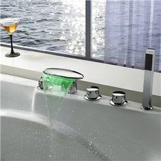 Couleur changeante LED hydroélectrique cascade robinet de baignoire