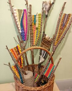 A basket full of branch weavings ready to be hung in the window on Tuesday! #branchweaving #stickweaving #naturecraft #craftsfromnature…...