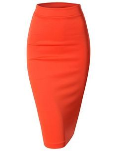 Womens Scuba Slim Fit Stretchy Pencil Midi Skirt AWBMS057_Orange XLarge * For more information, visit image link.