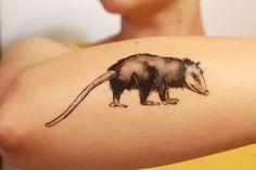 Opossum Temporary Tattoo, Black Ink Possum, Forest Animal Tattoo, Nature Tattoo
