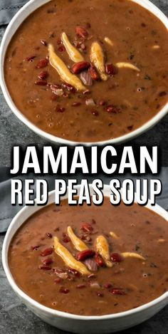 Dec 2019 - This hearty Red Peas Soup recipe is so flavorful and comforting and warming. It is perfect for chilly evenings. Red beans cooked in a flavorful herb infused coconut broth with potato, carrots, yam, and dumplings. Jamaican Cuisine, Jamaican Dishes, Jamaican Recipes, Jamaican Red Pea Soup Recipe, Red Peas Soup Recipe, Jamaican Soup, Soup Recipes, Vegetarian Recipes, Cooking Recipes