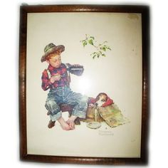 *SOLD* VINTAGE NORMAN ROCKWELL Old PRINT PRINTED Art Painting BOY DOG Wood Wooden Frame $1 SORRY SOLD ... we sell more OLD and VINTAGE HOME DECORATIONS at http://www.TropicalFeel.com