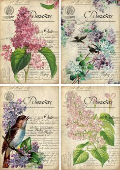 INSTANT DOWNLOAD diGiTal CollAge SheeT LiLACS DiGiTal DoWnLoAds VinTage EpHeMeRra shabBy BaCkgRounNDs GiFT TaG pRintableS, No. 80. $4.25, via Etsy.
