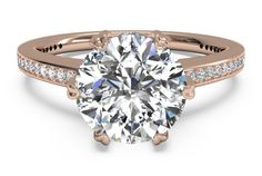 Round Cut Solitaire Diamond Six-Prong Micropavé Band Engagement Ring in 18kt Rose Gold 0.54 CTW - Wd shadow