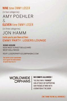 Amy Poehler and Jon Hamm Host an Emmys Losers' Party.. I love it!