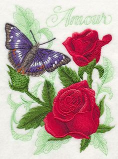 RP: Machine Embroidery: Purple Emperor Butterfly and Roses