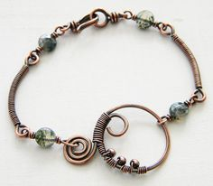 Moss Agate Copper Wire Wrapped Bracelet Green by dreambelledesign