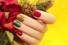 Multicolor Manicure With Red,green And Yellow Brilliant Varnish ...