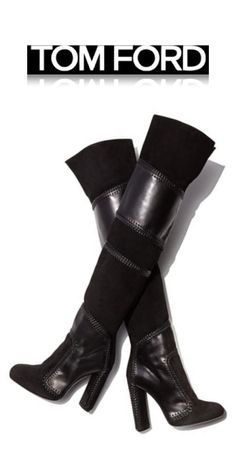 TOM FORD F/W 2015 - Black Leather and Suede Boots