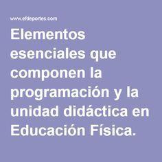 Elementos esenciales que componen la programación y la unidad didáctica en Educación Física. Enfoque relacional globalizador