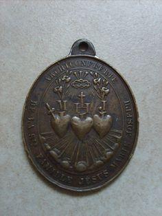 Rare médaille catholique Ste Famille des trois sacrés coeurs Jésus Marie Joseph